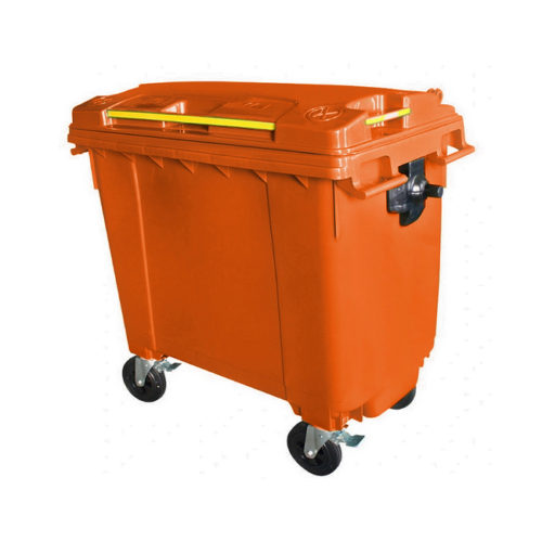 Mobile Wheelie Bins - Orange - 660L