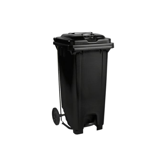 Plastic Pedal Wheelie Bin Black - 120L