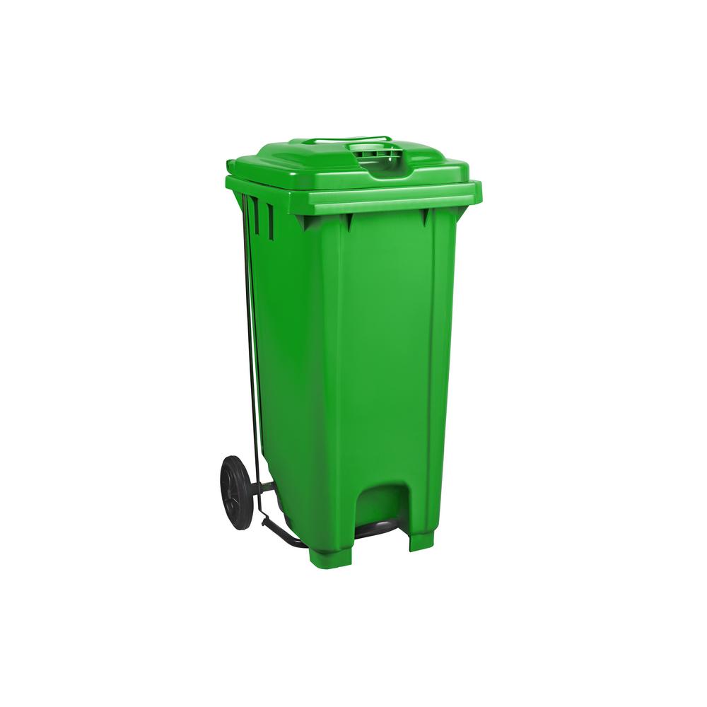 Plastic Pedal Wheelie Bin Green - 120L