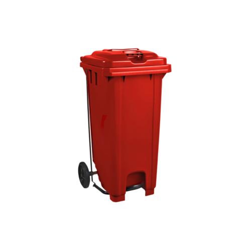 Plastic Pedal Wheelie Bin Red - 120L