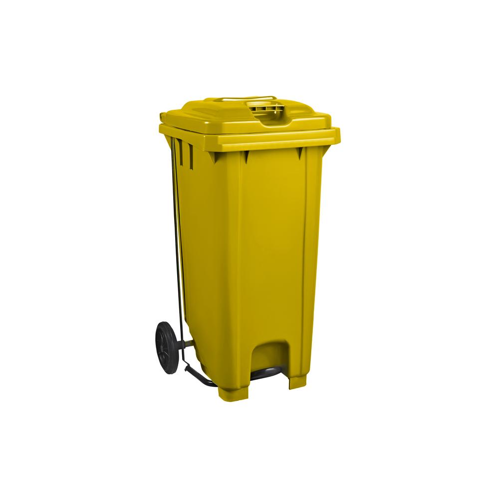 Plastic Pedal Wheelie Bin Yellow - 120L